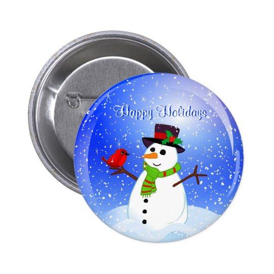 Happy Holidays Christmas Snowman Pin
