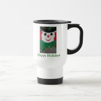 Happy Holidays Christmas Snowman Travel Mug