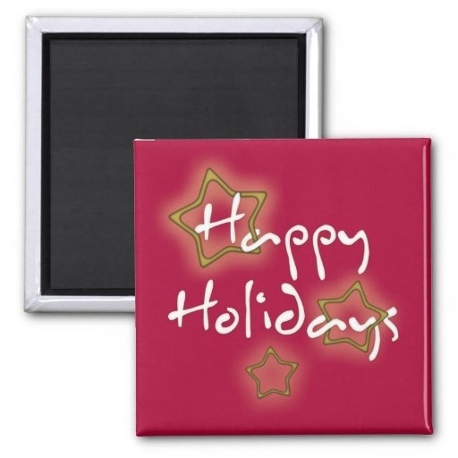 Happy Holidays Christmas Stars 2 Inch Square Magnet