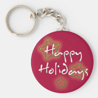 Happy Holidays Christmas Stars Keychain