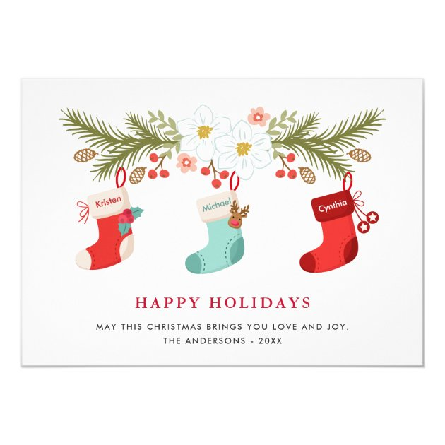 Happy Holidays Christmas Stockings 3 Family Names Card (back side)