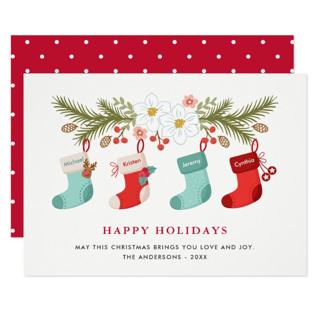 Happy Holidays Christmas Stockings 4 Family Names Card