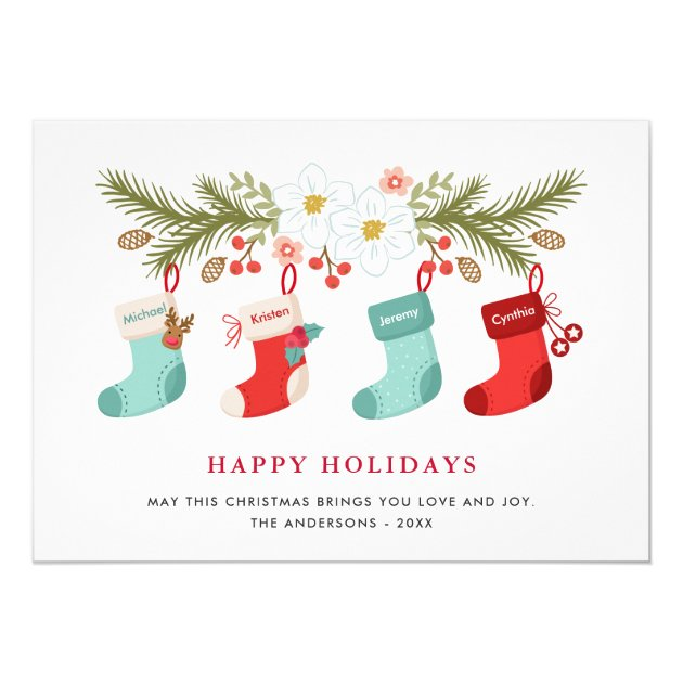 Happy Holidays Christmas Stockings 4 Family Names Card (back side)