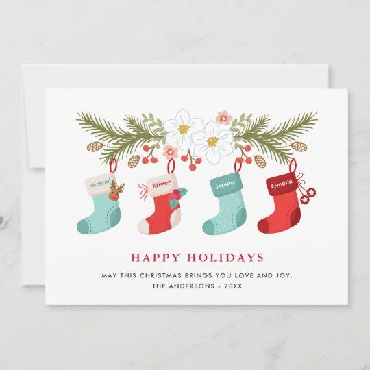 happy holidays christmas stockings 4 family names holiday