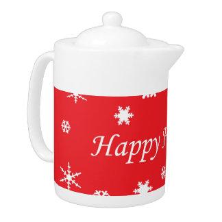 Happy holidays christmas teapot