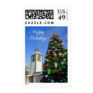 Happy Holidays - Christmas Tree at Farmers Market Postage Stamp