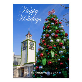 Happy Holidays - Christmas Tree at Farmers Market Postcard