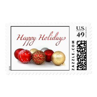 Happy Holidays Christmas Tree Bauble Postage