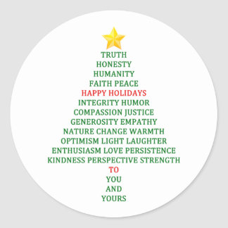 Happy Holidays Christmas Tree Blessing Classic Round Sticker