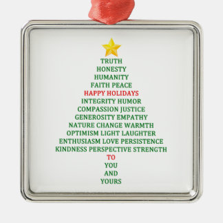 Happy Holidays Christmas Tree Blessing Metal Ornament
