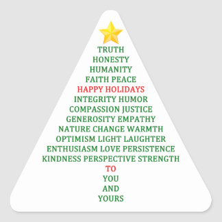 Happy Holidays Christmas Tree Blessing Triangle Sticker