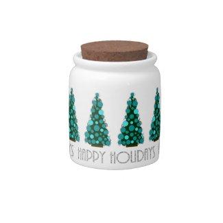 Happy Holidays Christmas Tree Candy Jar