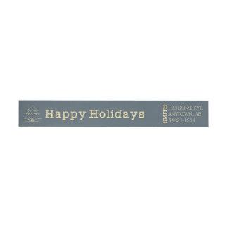 Happy Holidays Christmas Tree Navy Blue Yellow Wrap Around Label
