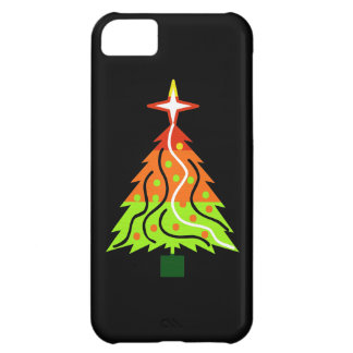 Happy Holidays Christmas Tree on Black Background Case For iPhone 5C