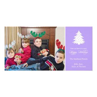 Happy Holidays Christmas Tree Photo Card (Violet)