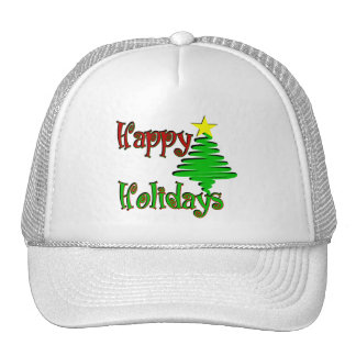 Happy Holidays Christmas Tree Trucker Hat