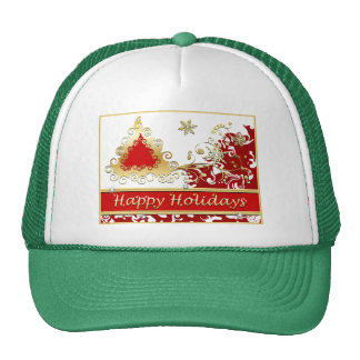 Happy Holidays Christmas Tree Trucker Hat