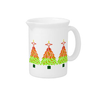 Happy Holidays Christmas Trees Drink Pitcher