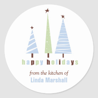 Happy Holidays Christmas Trees Sticker