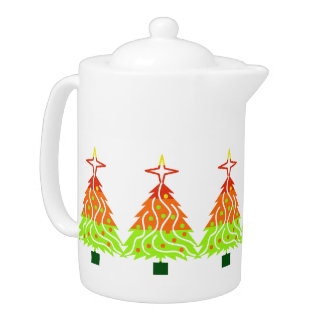 Happy Holidays Christmas Trees Teapot