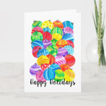 Happy Holidays Christmas , watercolor baubles Holiday Card