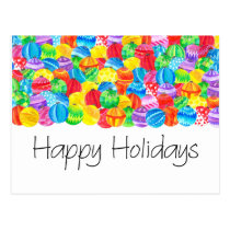Happy Holidays Christmas , watercolor baubles Postcard