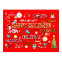 Happy Holidays/Christmas Word Art/Custom Message Postcard