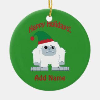 Happy Holidays! Christmas Yeti Ceramic Ornament