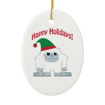 Happy Holidays! Christmas Yeti Ceramic Ornament