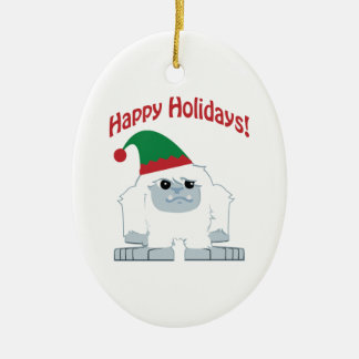 Happy Holidays! Christmas Yeti Double-Sided Oval Ceramic Christmas Ornament