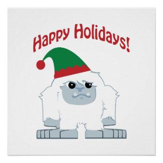 Happy Holidays! Christmas Yeti Poster