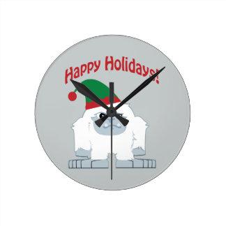 Happy Holidays! Christmas Yeti Round Clock