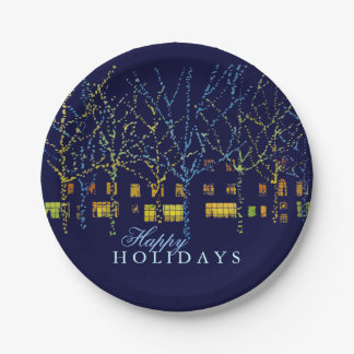 Happy Holidays City Christmas 7 Inch Paper Plate