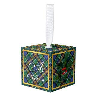 Happy Holidays Clan Allison Tartan Cube Ornament