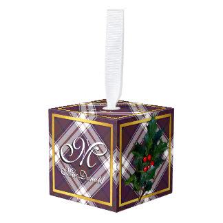 Happy Holidays Clan MacDonald Tartan Cube Ornament