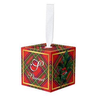 Happy Holidays Clan Stewart Tartan Cube Ornament