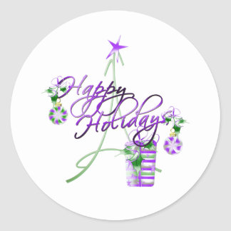 Happy Holidays Classic Round Sticker