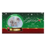 Happy Holidays Clear  Snow Globe Customizable Personalized Photo Card