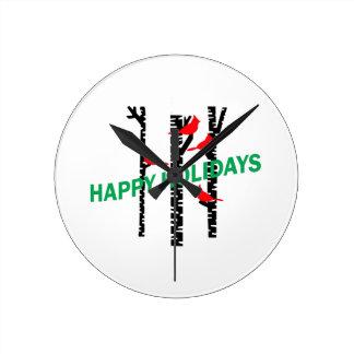 Happy Holidays Round Wall Clock