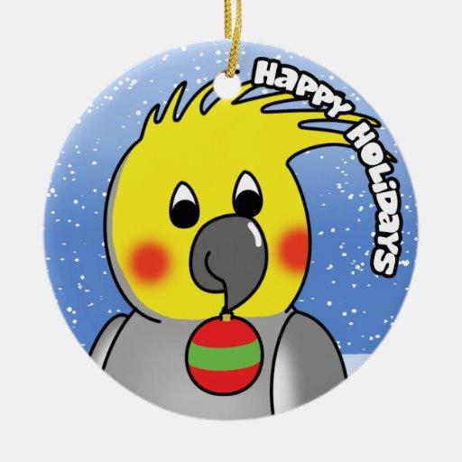 Happy Holidays Cockatiel Christmas Ornament