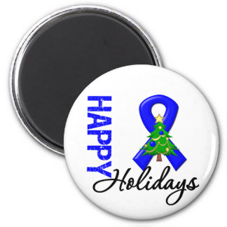 Happy Holidays Colon Cancer Awareness 2 Inch Round Magnet