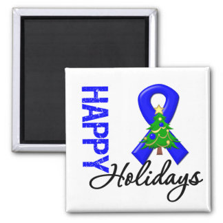 Happy Holidays Colon Cancer Awareness 2 Inch Square Magnet