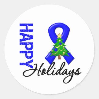 Happy Holidays Colon Cancer Awareness Classic Round Sticker