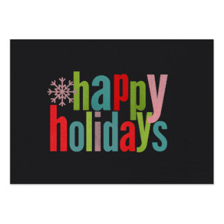 Happy Holidays Colored Chalkboard Business Cards
