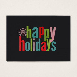 Happy Holidays Colored Chalkboard Business Card