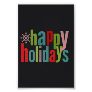 Happy Holidays Colored Chalkboard Poster