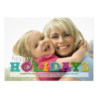 Happy Holidays Colorful Christmas Photo Card