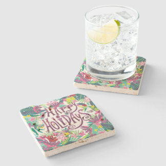 Happy Holidays Colorful Tropical Flowers Stone Coaster