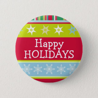 Happy Holidays colourful christmas button/badge Pinback Button