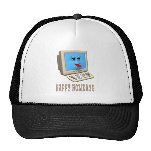 HAPPY HOLIDAYS  COMPUTER GREETING GIFTS TRUCKER HAT